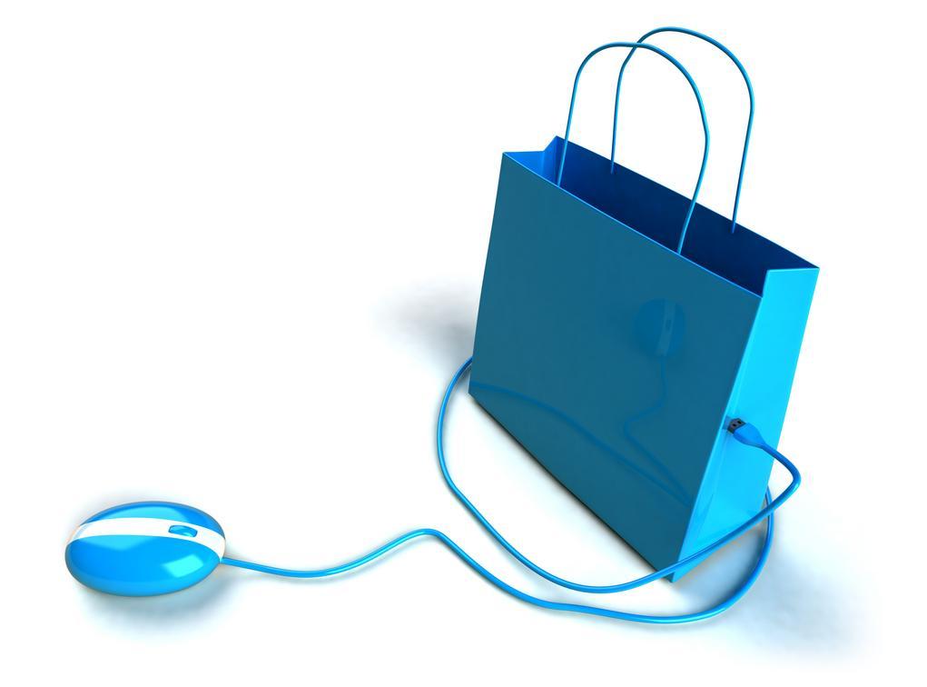 Стилизованный интернет-магазин: пакет и мышка ярко-голубого цвета