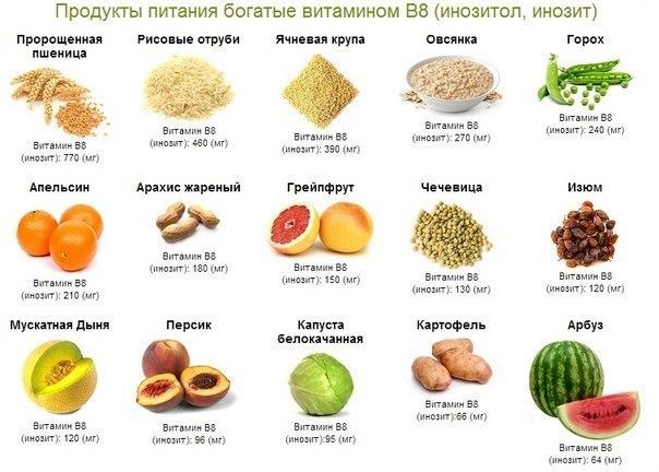 Источники витамина В8 - продукты питания богатые витамином В8